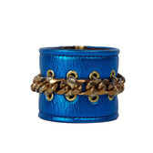 Condemned to Be Free Electric Blue Leather Chain Cuff