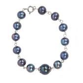 Silver Pearl Bracelet (Black)