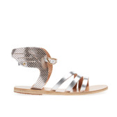 Ancient Greek Sandals Perforated Leather Wing Sandal (Silver)