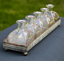 Decorative Metal Tray with Flower Bottles
