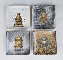 Set of Four Stoneware Bee Plates