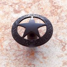 "JVJ 07220 Oil Bronze Finish 1 7/16"" Medium Star Door Knob with Braided Edge"