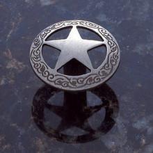 "JVJ 07218 Antique Nickel Finish 1 7/16"" Medium Star Door Knob with Braided Edge"