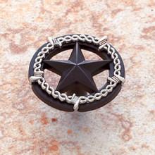 "JVJ 06224 Oil Rubbed Bronze & Silver Finish 1 ½"" Ornamental Star Door Knob"