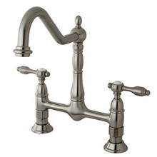 Kingston Brass Two Handle Widespread Bridge Kitchen Faucet - Satin Nickel