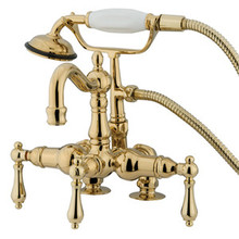 "Kingston Brass 3-3/8"" Deck Mount Clawfoot Tub Filler Faucet with Hand Shower - Polished Brass CC1013T2"