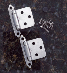 JVJ 10146 Satin Nickel Finish Flush Self-Closing Hinge (Pair) - Made of Steel