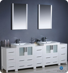 "Fresca Torino FVN62-72WH-UNS 84"" White Modern Double Sink Bathroom Vanity Cabinet w/ 3 Side Cabinets & Undermount Sinks - White"