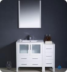"Fresca Torino FVN62-3012WH-UNS 42"" White Modern Bathroom Vanity Cabinet w/ Side Cabinet & Undermount Sink"