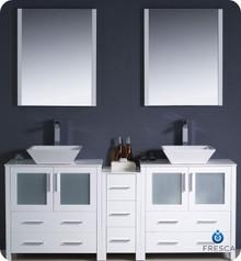 "Fresca Torino FVN62-301230WH-VSL 72"" White Modern Double Sink Bathroom Vanity Cabinet w/ Side Cabinet & Vessel Sinks - White"