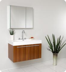 Fresca FVN8090TK Teak Modern 35'' Bathroom Vanity Cabinet W/ Medicine Cabinet  - Teak