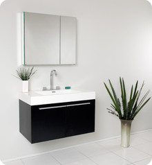 Fresca FVN8090BW Black Modern 35'' Bathroom Vanity Cabinet W/ Medicine Cabinet  - Black