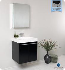 Fresca FVN8058BW Black Modern 23'' Bathroom Vanity Cabinet W/ Medicine Cabinet  - Black