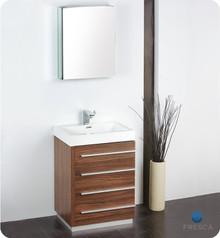 """Fresca FVN8024GW 24"""" Walnut Modern Bathroom Vanity Cabinet W/ Medicine Cabinet  - Walnut"""