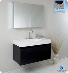 Fresca FVN8010BW Modern 39'' Bathroom Vanity Cabinet W/ Medicine Cabinet  - Black