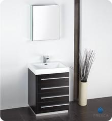 "Fresca FVN8024BW 24"" Black Modern Bathroom Vanity Cabinet W/ Medicine Cabinet  - Black"