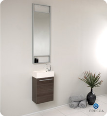 Fresca FVN8002GO Small Gray Oak Modern Wall Hung 15'' Bathroom Vanity Cabinet W/ Tall Mirror  - Gray Oak