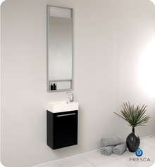 Fresca FVN8002BW Small Black Modern Wall Hung 15'' Bathroom Vanity Cabinet W/ Tall Mirror  - Black