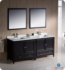 """Fresca FVN20-3636ES 72"""" Espresso Traditional Double Sink Bathroom Vanity Cabinet w/ 2 Mirrors"""
