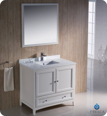"Fresca FVN2036AW 36"" Antique White Traditional Bathroom Vanity Cabinet w/ Mirror"