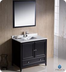 """Fresca FVN2036ES 36"""" Espresso Traditional Bathroom Vanity Cabinet w/ Mirror"""