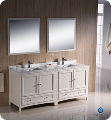 """Fresca FVN20-3636AW 72"""" Antique White Traditional Double Sink Bathroom Vanity Cabinet w/ 2 Mirrors"""
