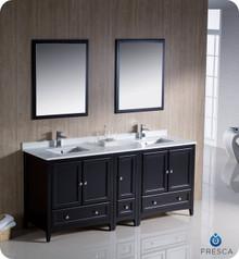 "Fresca FVN20-301230ES 72"" Espresso Traditional Double Sink Bathroom Vanity Cabinet w/ Side Cabinet & 2 Mirrors"