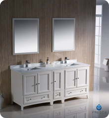 """Fresca FVN20-301230AW 72"""" Antique White Traditional Double Sink Bathroom Vanity Cabinet w/ Side Cabinet & 2 Mirrors"""