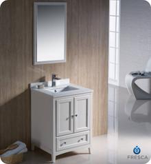 "Fresca FVN2024AW 24"" Antique White Traditional Bathroom Vanity Cabinet w/ Mirror"