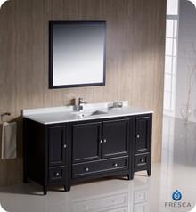 """Fresca FVN20-123612ES 60"""" Espresso Traditional Bathroom Vanity Cabinet w/ 2 Side Cabinets & 1 Mirror"""