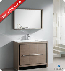 """Fresca Allier FVN8140GO 40"""" Gray Oak Modern Bathroom Vanity Cabinet w/ Mirror - Gray Oak"""