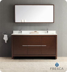 "Fresca Allier FVN8119WG Fresca Allier 60"" Wenge Brown Modern Double Sink Bathroom Vanity Cabinet w/ Mirror - Wenge Brown"