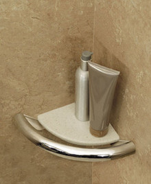 HealthCraft Invisia INV-CS-BS Bathroom Corner Shelf with Integrated Support Rail Grab Bar - Brushed Stainless Steel