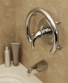 HealthCraft Invisia INV-ACR-BS Shower Accent Ring With Integrated Support Rail Grab Bar - Brushed Stainless Steel