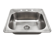 "Polaris PT8301US Topmount Stainless Steel Rectangular Kitchen Sink 25"" x 22"" x 8"" - Brushed Satin"
