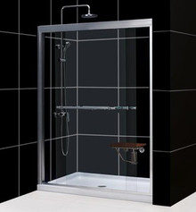 "Dreamline DL-6955C-01CL Duet Clear Frameless Xpass Sliding Shower Door And Slimline 36"" X 48"" Single Threshold Shower Base - Center Drain - Chrome Hardware"