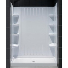 "Dreamline DL-6146C-01 Slimline 32"" X 60"" Single Threshold Shower Base And Qwall-3 Shower Backwalls Kit"
