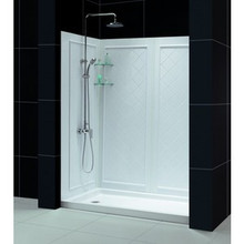 "Dreamline DL-6192C-01 Slimline 36"" X 60"" Single Threshold Shower Base And Qwall-5 Shower Backwalls Kit"