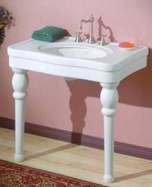"""Cheviot 710-WH-8 Astoria 36"""" X 22"""" Lavatory Console Sink With White Legs & 8"""" Centers - White"""