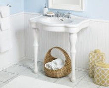 """Cheviot 707-WH-8 Windsor 32"""" Lavatory Console Sink With White Legs & 8"""" Centers - White"""