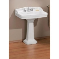 """Cheviot 553-WH-4 Essex Pedestal Lavatory Sink 24"""" X 18"""" with 4"""" Faucet Hole - White"""