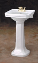 """Cheviot 511/25-WH-8 Mayfair Pedestal Lavatory Sink 25"""" X 20"""" with 8"""" Faucet Hole - White"""