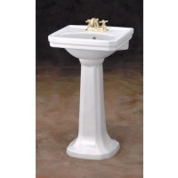 """Cheviot 511/20-WH-8 Mayfair Pedestal Lavatory Sink 20"""" X 16"""" with 8"""" Faucet Hole - White"""