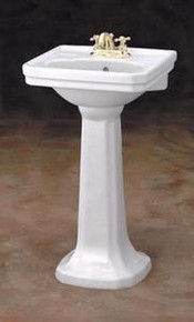 """Cheviot 511/20-WH-1 Mayfair Pedestal Lavatory Sink 20""""W  X 16"""" D with Single Faucet Hole - White"""