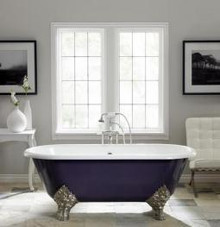 """Cheviot 2161w Carlton 70"""" Freestanding Clawfoot Bath Tub With Flat Area Continuous Rolled Rim White - Choice Of 6 Feet Colors"""
