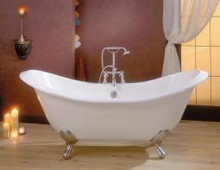 """Cheviot 2148w Regency 61"""" Freestanding Clawfoot Footed Bath Tub Painted White - Choice Of 6 Feet Colors"""