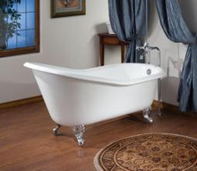"""Cheviot 2144w Slipper 54"""" Cast Iron Freestanding Clawfoot Tub With Flat Area Continuous Rolled Rim White - Choice Of 6 Feet Colors"""