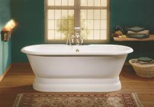 """Cheviot 2121-bb Regal 68"""" Cast Iron Freestanding Tub With Pedestal Base - Biscuit"""