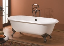 """Cheviot 2127w Regal 61"""" Cast Iron Freestanding Clawfoot Bath Tub With Continuous Rolled Rim White - Choice Of 6 Feet Colors"""
