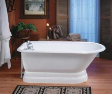 """Cheviot 2116w Traditional 61"""" Cast Iron Freestanding Tub With Cast Iron Pedestal Base & Faucet Holes - White"""